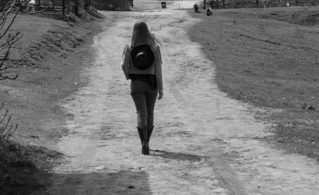 Country girl walking