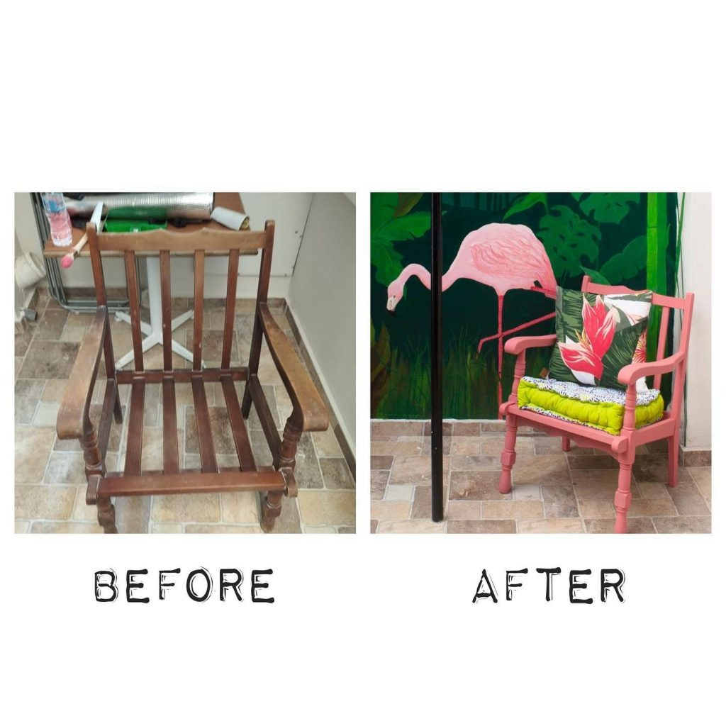 Καρέκλα παλιά, πριν και μετά το βάψιμο
